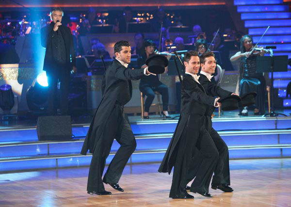 Italian singer Andrea Bocelli graced the 'Dancing With The Stars' stage with performance of 'More' with Chris Botti on 'Dancing With The Stars: The Results Show' on Tuesday, November 8, 2011. The Troupe accompanied their performance.