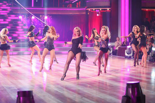 "<div class=""meta image-caption""><div class=""origin-logo origin-image ""><span></span></div><span class=""caption-text"">The professional female dancers took the stage to perform along to Jordin Sparks' 'I Am Woman' on 'Dancing With The Stars: The Results Show' on Tuesday, November 8, 2011.  (ABC Photo/ Adam Taylor)</span></div>"