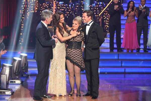 Television host Nancy Grace and her partner Tristan Macmanus react to being eliminated on 'Dancing With The Stars: The Results Show' on Tuesday, November 8, 2011. The pair received 24 out of 30 from the judges for their Tango and 20 out of 30 for their In