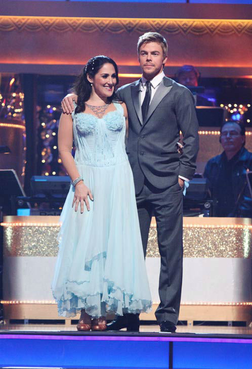Talk show host and actress Ricki Lake and her partner Derek Hough await possible elimination on 'Dancing With The Stars: The Results Show' on Tuesday, November 8, 2011. The pair received 28 out of 30 from the judges for their Waltz and 24 out of 30 for th