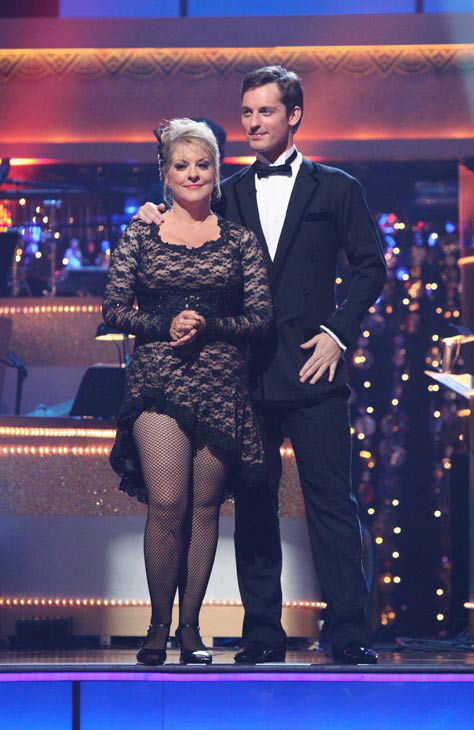 Nancy Grace and her partner Tristan Macmanus await possible elimination on 'Dancing With The Stars: The Result Show' on Tuesday, November 8, 2011. The pair received 24 out of 30 from the judges for their Tango and 20 out of 30 for their Instant Jive, for