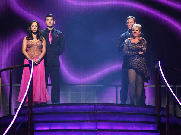 'Keeping Up With The Kardashians' star Rob Kardashian and his partner Cheryl Burke and Nancy Grace and her partner Tristan Macmanus await possible elimination on 'Dancing With The Stars: The Result Show' on Tuesday, November 8, 2011.