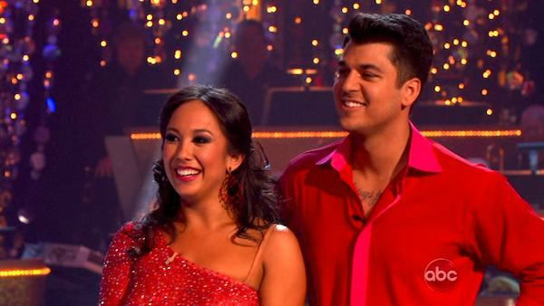 "<div class=""meta image-caption""><div class=""origin-logo origin-image ""><span></span></div><span class=""caption-text"">'Keeping Up With The Kardashians' star Rob Kardashian and his partner Cheryl Burke received 28 out of  30 from the judges for their Paso Doble and 27 out of 30 for their Argentine Tango and 10 bonus points for their Cha Cha relay for a total of 65 points on the November 14 episode of 'Dancing With The Stars.' (ABC Photo/ ABC)</span></div>"
