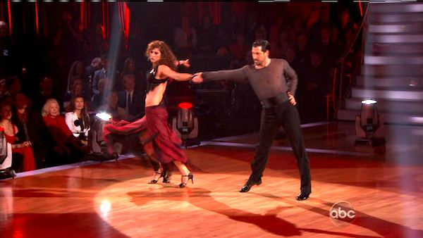 U.S. soccer star Hope Solo and her partner Maksim Chmerkovskiy received 21 out of 30 from the judges for their Paso Dob