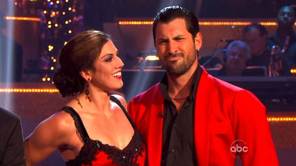U.S. soccer star Hope Solo and her partner Maksim Chmerkovskiy received 21 out of 30 from the judges for their Paso Doble and 24 out of 30 for their Argentine Ta