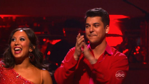 'Keeping Up With The Kardashians' star Rob Kardashian and his partner Cheryl Burke react to being safe from elimination on 'Dancing With The Stars: The Results Show' on Tuesday, November 15, 2011.
