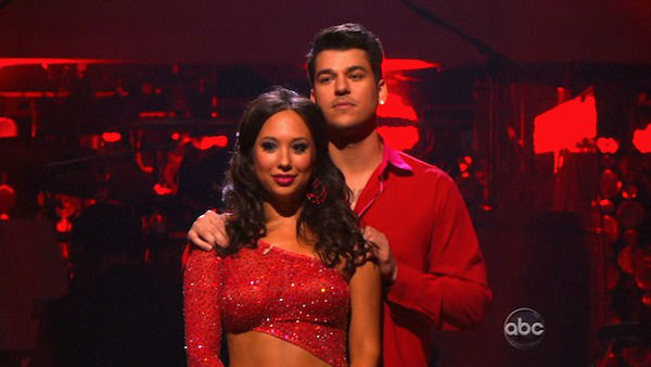 "<div class=""meta image-caption""><div class=""origin-logo origin-image ""><span></span></div><span class=""caption-text"">'Keeping Up With The Kardashians' star Rob Kardashian and his partner Cheryl Burke await possible elimination on 'Dancing With The Stars: The Results Show' on Tuesday, November 15, 2011. The pair received 28 out of 30 from the judges for their Paso Doble and 27 out of 30 for their Argentine Tango and 10 bonus points for their Cha Cha relay for a total of 65 points on the November 14 episode of 'Dancing With The Stars.' (ABC Photo)</span></div>"