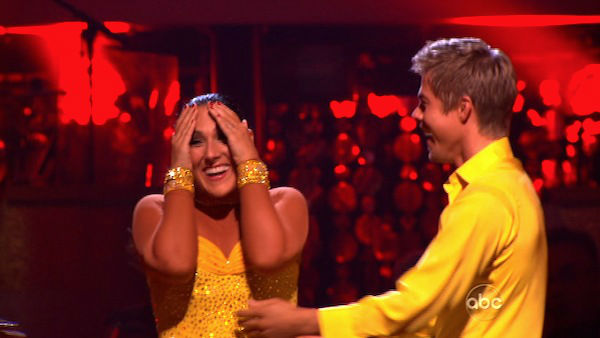 Talk show host and actress Ricki Lake and her partner Derek Hough react to being safe on &#39;Dancing With The Stars: The Results Show&#39; on Tuesday, November 15, 2011. The pair received 30 out of 30 from the judges for their Paso Doble and 29 out of 30 for their Argentine Tango and 8 bonus points for their Cha Cha relay for a total of 67 points on the November 14 episode of &#39;Dancing With The Stars.&#39; <span class=meta>(ABC Photo)</span>