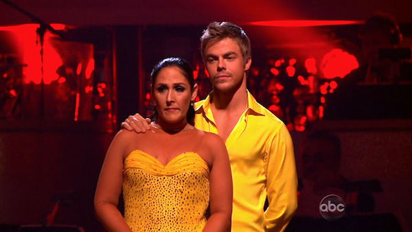 Talk show host and actress Ricki Lake and her partner Derek Hough await possible elimination on 'Dancing With The Stars: The Results Show' on Tuesday, November 15, 2011.