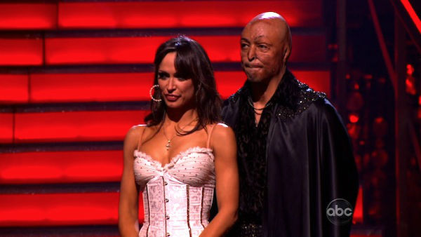 &#39;All My Children&#39; actor and Iraq War veteran J.R. Martinez and his partner Karina Smirnoff await possible elimination on &#39;Dancing With The Stars: The Results Show&#39; on Tuesday, November 15, 2011. The pair received 23 out of 30 from the judges for their Paso Doble and 27 out of 30 for their Argentine Tango and 6 bonus points for their Cha Cha relay for a total of 56 points on the November 14 episode of &#39;Dancing With The Stars.&#39; <span class=meta>(ABC Photo)</span>