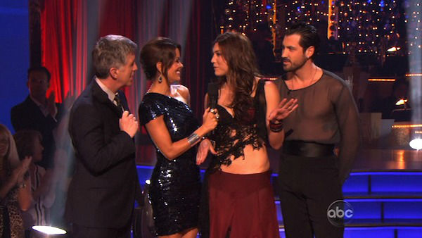 "<div class=""meta ""><span class=""caption-text "">U.S. soccer star Hope Solo and her partner Maksim Chmerkovskiy react to being eliminated on 'Dancing With The Stars: The Results Show' on Tuesday, November 15, 2011. The pair received 21 out of 30 from the judges for their Paso Doble and 24 out of 30 for their Argentine Tango and 4 bonus points for their Cha Cha relay for a total of 49 points on the November 14 episode of 'Dancing With The Stars.' (ABC Photo)</span></div>"