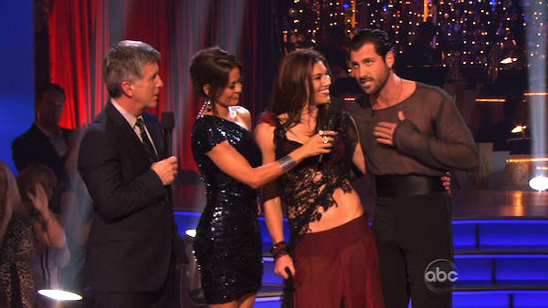 U.S. soccer star Hope Solo and her partner Maksim Chmerkovskiy react to being eliminated on &#39;Dancing With The Stars: The Results Show&#39; on Tuesday, November 15, 2011. The pair received 21 out of 30 from the judges for their Paso Doble and 24 out of 30 for their Argentine Tango and 4 bonus points for their Cha Cha relay for a total of 49 points on the November 14 episode of &#39;Dancing With The Stars.&#39; <span class=meta>(ABC Photo)</span>