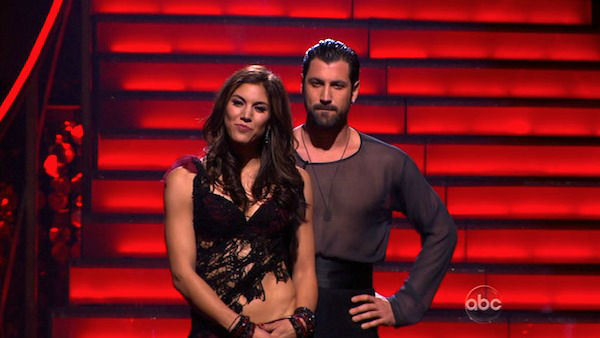 "<div class=""meta ""><span class=""caption-text "">U.S. soccer star Hope Solo and her partner Maksim Chmerkovskiy await possible elimination on 'Dancing With The Stars: The Results Show' on Tuesday, November 15, 2011. The pair received 27 out of 30 from the judges for their Quickstep and 25 points out of 30 for their Instant Jive, for a total of 52 points on the November 7 episode of 'Dancing With The Stars.' (ABC Photo)</span></div>"