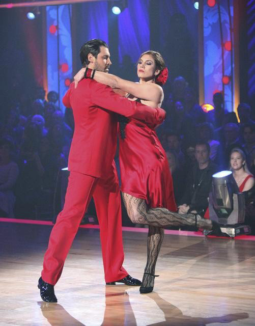 "<div class=""meta ""><span class=""caption-text "">U.S. soccer star Hope Solo and her partner Maksim Chmerkovskiy received 21 out of 30 from the judges for  their Paso Doble and 24 out of 30 for their Argentine Tango and 4 bonus points for their Cha Cha relay for a total of 49 points on the November 14 episode of 'Dancing With The Stars.' (ABC Photo/ ABC)</span></div>"