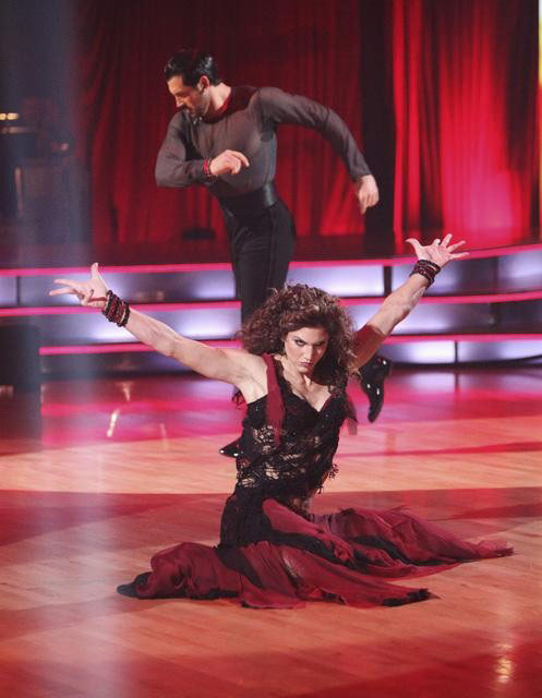 "<div class=""meta image-caption""><div class=""origin-logo origin-image ""><span></span></div><span class=""caption-text"">U.S. soccer star Hope Solo and her partner Maksim Chmerkovskiy received 21 out of 30 from the judges for  their Paso Doble and 24 out of 30 for their Argentine Tango and 4 bonus points for their Cha Cha relay for a total of 49 points on the November 14 episode of 'Dancing With The Stars.' (ABC Photo/ ABC)</span></div>"
