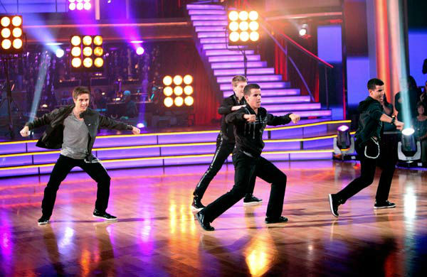 "<div class=""meta ""><span class=""caption-text "">The last 'AT&T Spotlight Performance' of the season highlighted Kyle Scanlan, David Guzman, Jacob Guzman and Matt Gilmore from The Gold School in Brockton, Massachusetts. Their performance on 'Dancing With The Stars: The Results Show' on Tuesday, November 15, was accompanied by female pro dancers Chelsie Hightower, Lacey Schwimmer, Sharna Burgess and Peta Murgatroyd.  (ABC Photo/ Adam Taylor)</span></div>"