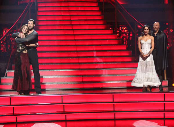 U.S. soccer star Hope Solo and her partner Maksim Chmerkovskiy, 'All My Children' actor and Iraq War veteran J.R. Martinez and his partner Karina Smirnoff await possible elimination on 'Dancing With The Stars: The Result Show' on Tuesday, November 15, 201