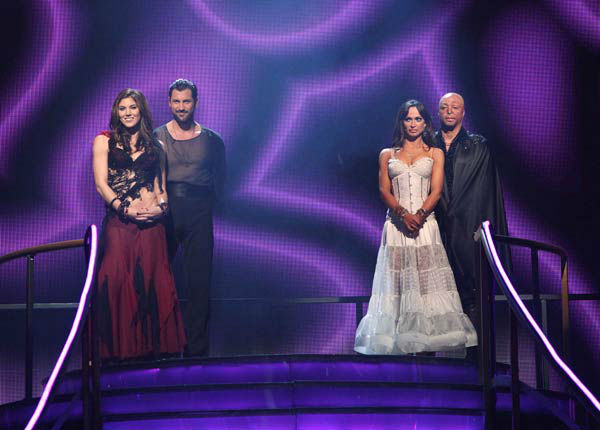 "<div class=""meta ""><span class=""caption-text "">U.S. soccer star Hope Solo and her partner Maksim Chmerkovskiy, 'All My Children' actor and Iraq War veteran J.R. Martinez and his partner Karina Smirnoff await possible elimination on 'Dancing With The Stars: The Result Show' on Tuesday, November 15, 2011. (ABC Photo/ Adam Taylor)</span></div>"
