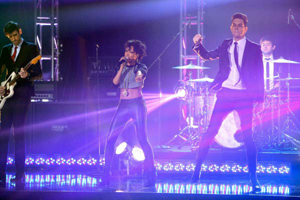 Cobra Starship also hit the stage for a performance featuring Sabi of their hit single, &#39;You Make Me Feel,&#39; accompanied by pro dancers Kym Johnson, Tristan MacManus, Sharna Burgess and Sonny Pederson on &#39;Dancing With The Stars: The Results Show&#39; on Tuesday, November 15. <span class=meta>(ABC Photo&#47; Adam Taylor)</span>