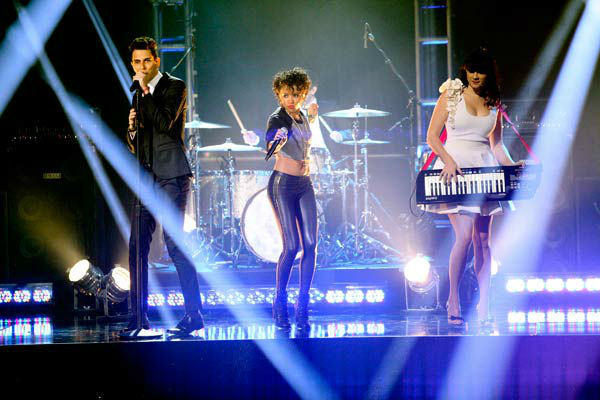 "<div class=""meta ""><span class=""caption-text "">Cobra Starship also hit the stage for a performance featuring Sabi of their hit single, 'You Make Me Feel,' accompanied by pro dancers Kym Johnson, Tristan MacManus, Sharna Burgess and Sonny Pederson on 'Dancing With The Stars: The Results Show' on Tuesday, November 15. (ABC Photo/ Adam Taylor)</span></div>"