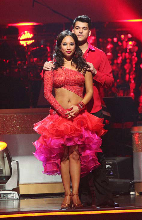 'Keeping Up With The Kardashians' star Rob Kardashian and his partner Cheryl Burke await possible elimination on 'Dancing With The Stars: The Results Show' on Tuesday, November 15, 2011. The pair received 28 out of 30 from the judges for their Samba and 2