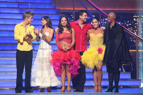 Derek Hough, Karina Smirnoff, Cheryl Burke, Ricki Lake and J.R. Martinez react to Hope Solo and Maksim Chmerkovskiy's elimination on 'Dancing With The Stars: The Result Show' on Tuesday, November 15, 2011.