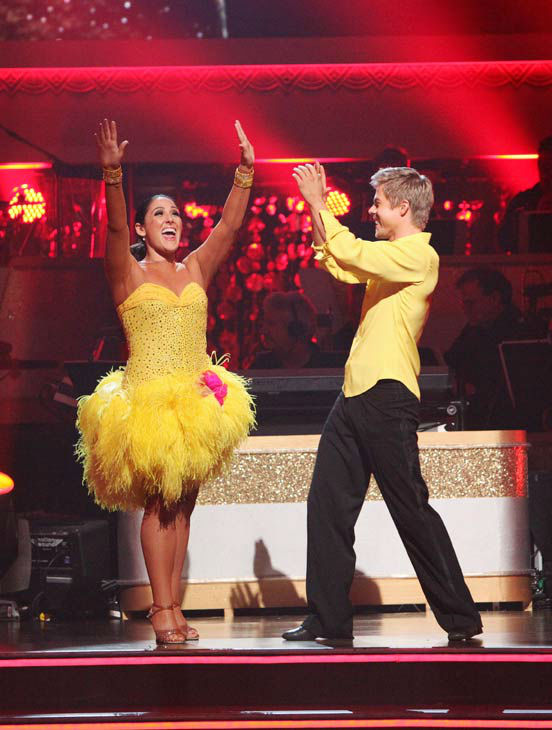 Talk show host and actress Ricki Lake and her partner Derek Hough react to being safe on 'Dancing With The Stars: The Results Show' on Tuesday, November 15, 2011. The pair received 30 out of 30 from the judges for their Samba and 29 out of 30 for their Ar