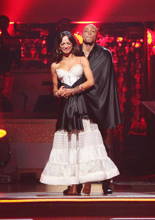 'All My Children' actor and Iraq War veteran J.R. Martinez and his partner Karina Smirnoff await possible elimination on 'Dancing With The Stars: The Results Show' on Tuesday, November 15, 2011. The pair received 23 out of 30 from the judges for their Pas