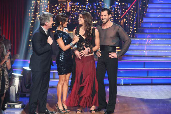 "<div class=""meta image-caption""><div class=""origin-logo origin-image ""><span></span></div><span class=""caption-text"">U.S. soccer star Hope Solo and her partner Maksim Chmerkovskiy react to being eliminated on 'Dancing With The Stars: The Results Show' on Tuesday, November 15, 2011. The pair received 21 out of 30 from the judges for their Paso Doble and 24 out of 30 for their Argentine Tango and 4 bonus points for their Cha Cha relay for a total of 49 points on the November 14 episode of 'Dancing With The Stars.' (ABC Photo/ Adam Taylor)</span></div>"