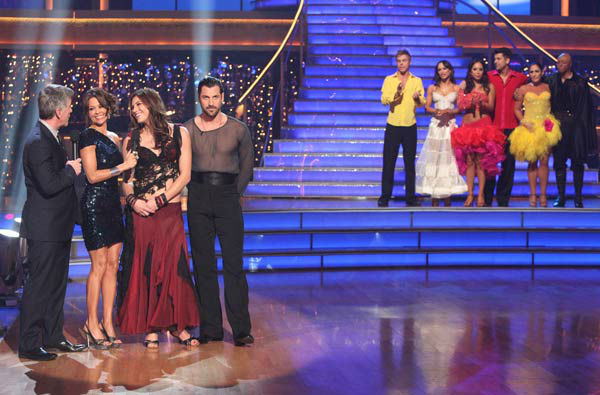 U.S. soccer star Hope Solo and her partner Maksim Chmerkovskiy react to being eliminated on 'Dancing With The Stars: The Results Show' on Tuesday, November 15, 2011. The pair received 21 out of 30 from the judges for their Paso Doble and 24 out of 30 for