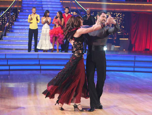 "<div class=""meta ""><span class=""caption-text "">U.S. soccer star Hope Solo and her partner Maksim Chmerkovskiy react to being eliminated on 'Dancing With The Stars: The Results Show' on Tuesday, November 15, 2011. The pair received 21 out of 30 from the judges for their Paso Doble and 24 out of 30 for their Argentine Tango and 4 bonus points for their Cha Cha relay for a total of 49 points on the November 14 episode of 'Dancing With The Stars.' (ABC Photo/ Adam Taylor)</span></div>"