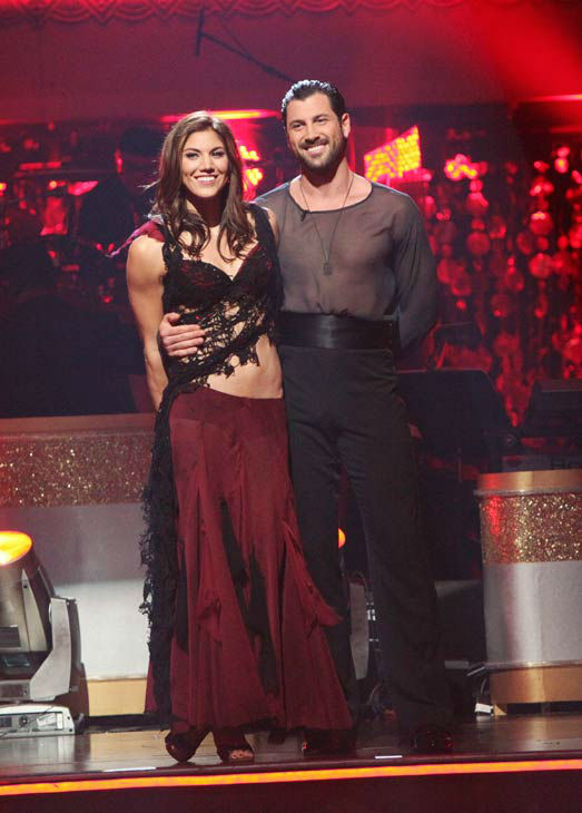 U.S. soccer star Hope Solo and her partner Maksim Chmerkovskiy await possible elimination on 'Dancing With The Stars: The Results Show' on Tuesday, November 15, 2011. The pair received 27 out of 30 from the judges for their Quickstep and 25 points out of