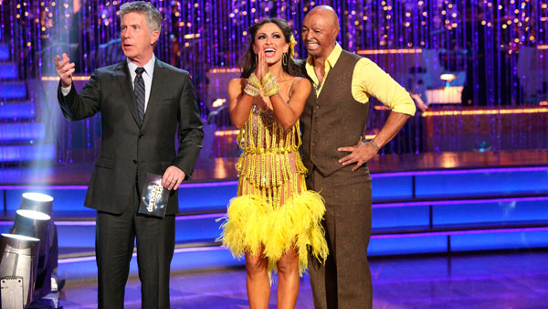 &#39;All My Children&#39; actor and Iraq War veteran J.R. Martinez and his partner Karina Smirnoff received 24 out of 30 from the judges for their Cha Cha Cha and 30 out of 30 for their Freestyle dance for a total of 54 out of 60 points on the November 21 episode of &#39;Dancing With The Stars.&#39; <span class=meta>(ABC Photo)</span>