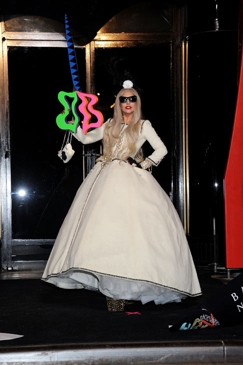 Lady Gaga appears in a photo from the unveiling of 'Gaga's Workshop' at Barneys New York on November 21.
