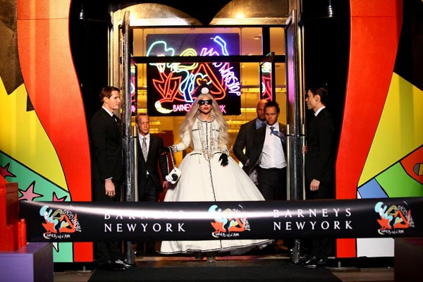 "<div class=""meta image-caption""><div class=""origin-logo origin-image ""><span></span></div><span class=""caption-text"">Lady Gaga appears in a photo from the unveiling of 'Gaga's Workshop' at Barneys New York on November 21.  Gaga teamed with Barneys New York to open 'Gaga's Workshop,' which is a take on Santa's iconic and traditional workshop. The 25-year-old singer teamed with other creative talents to create a quirky holiday destination filled with exclusive products and festive holiday windows. Barneys New York is donating 25 percent of sales from the featured items to the Born This Way Foundation, recently founded and announced by Gaga and her mother.  (Pictured: Lady Gaga appears in a photo from the unveiling of 'Gaga's Workshop' at Barneys New York on November 21.)  (Neilson Bernard)</span></div>"