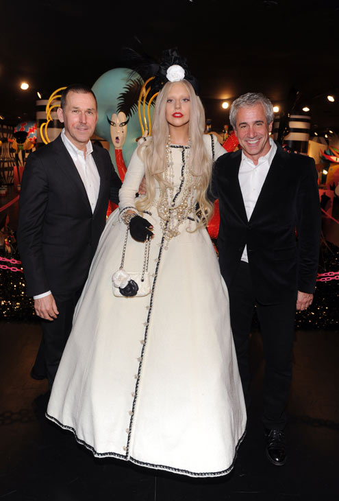 Lady Gaga appears in a photo from the unveiling of &#39;Gaga&#39;s Workshop&#39; at Barneys New York on November 21.  Gaga teamed with Barneys New York to open &#39;Gaga&#39;s Workshop,&#39; which is a take on Santa&#39;s iconic and traditional workshop. The 25-year-old singer teamed with other creative talents to create a quirky holiday destination filled with exclusive products and festive holiday windows. Barneys New York is donating 25 percent of sales from the featured items to the Born This Way Foundation, recently founded and announced by Gaga and her mother.  &#40;Pictured: Lady Gaga appears in a photo from the unveiling of &#39;Gaga&#39;s Workshop&#39; at Barneys New York on November 21.&#41;  <span class=meta>(Jamie McCarthy)</span>