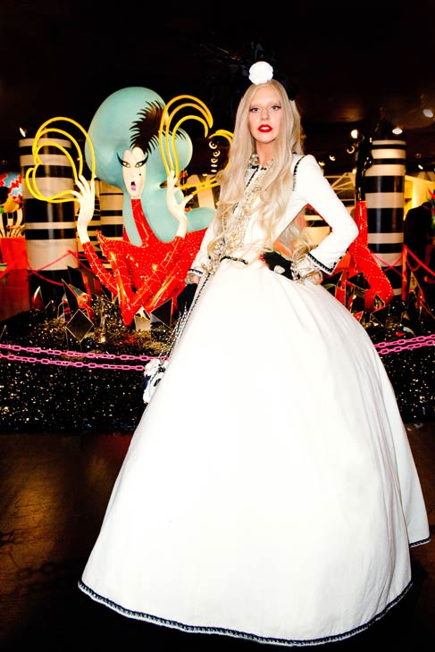 Lady Gaga appears in a photo from the unveiling of &#39;Gaga&#39;s Workshop&#39; at Barneys New York on November 21.  Gaga teamed with Barneys New York to open &#39;Gaga&#39;s Workshop,&#39; which is a take on Santa&#39;s iconic and traditional workshop. The 25-year-old singer teamed with other creative talents to create a quirky holiday destination filled with exclusive products and festive holiday windows. Barneys New York is donating 25 percent of sales from the featured items to the Born This Way Foundation, recently founded and announced by Gaga and her mother.  &#40;Pictured: Lady Gaga appears in a photo from the unveiling of &#39;Gaga&#39;s Workshop&#39; at Barneys New York on November 21.&#41;  <span class=meta>(Terry Richardson Photography)</span>
