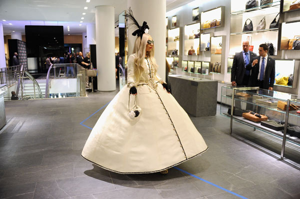 "<div class=""meta ""><span class=""caption-text "">Lady Gaga appears in a photo from the unveiling of 'Gaga's Workshop' at Barneys New York on November 21.  Gaga teamed with Barneys New York to open 'Gaga's Workshop,' which is a take on Santa's iconic and traditional workshop. The 25-year-old singer teamed with other creative talents to create a quirky holiday destination filled with exclusive products and festive holiday windows. Barneys New York is donating 25 percent of sales from the featured items to the Born This Way Foundation, recently founded and announced by Gaga and her mother.  (Pictured: Lady Gaga appears in a photo from the unveiling of 'Gaga's Workshop' at Barneys New York on November 21.)  (Theo Wargo)</span></div>"
