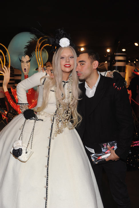 Nicola Formichetti, co-creator of 'Gaga's Workshop,' appears in a photo with Lady Gaga at the unveiling of 'Gaga's Workshop' at Barneys New York on November 21.