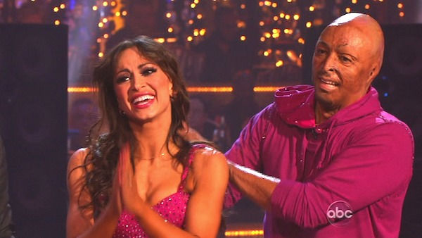 &#39;All My Children&#39; actor and Iraq War veteran J.R. Martinez and his partner Karina Smirnoff received 24 out of 30 from the judges for their Cha Cha Cha and 30 out of 30 for their Freestyle dance for a total of 53 out of 60 points on the November 21 episode of &#39;Dancing With The Stars.&#39; <span class=meta>(ABC Photo)</span>