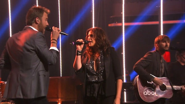 "<div class=""meta ""><span class=""caption-text "">Lady Antebellum had the final ballroom music performance for season 13 of 'Dancing With The Stars: The Results Show,' on Tuesday, November 22, 2011. The group had the television debut of their single 'Dancing Away with My Heart,' which is off their new album 'Own the Night.' The country music band was accompanied by Troupe members Sasha, Teddy, Kiki, Sharna, Dasha and Oksana on the dance floor. The group also performed their hit song 'Need You Now,' accompanied by 'Dancing With The Stars' pros Kym, Dmitry, Peta and Val.  (OTRC Photo)</span></div>"