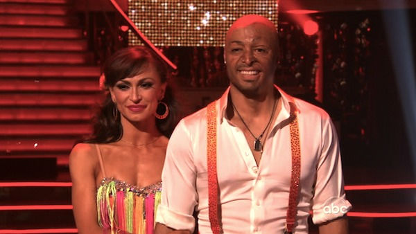 'All My Children' actor and Iraq War veteran J.R. Martinez and his partner Karina Smirnoff await their fate on 'Dancing With The Stars: The Results Show' on Tuesday, November 22.