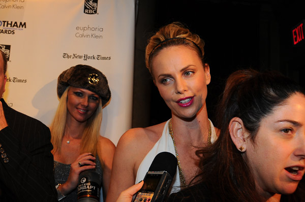 Charlize Theron appears in a photo at the Gotham Awards in New York City on Nov. 28, 2011.