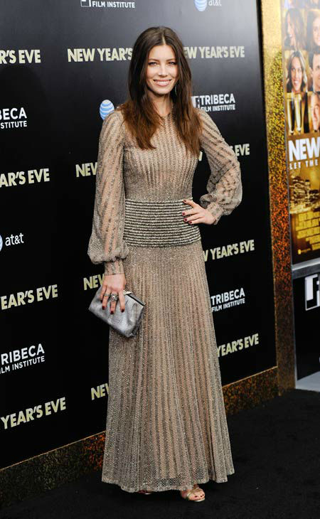 "<div class=""meta ""><span class=""caption-text "">Actress Jessica Biel attends the premiere of 'New Year's Eve' at Ziegfeld Theatre on Wednesday, Dec. 7, 2011 in New York.  (AP Photo/Evan Agostini)</span></div>"