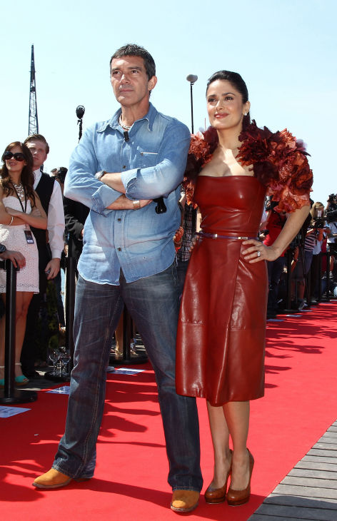 "<div class=""meta ""><span class=""caption-text "">Actor Antonio Banderas (L) and actress Salma Hayek attend the 'Puss in Boots' Photocall at Carlton Beach during the 64th Cannes Film Festival on May 11, 2011 in Cannes, France.  (Andreas Rentz / Getty Images / Royalty-free)</span></div>"