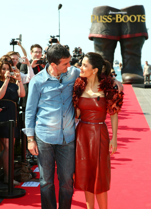 Actor Antonio Banderas &#40;L&#41; and actress Salma Hayek attend the &#39;Puss in Boots&#39; Photocall at Carlton Beach during the 64th Cannes Film Festival on May 11, 2011 in Cannes, France.  <span class=meta>(Photo&#47;Lucian Capellaro)</span>