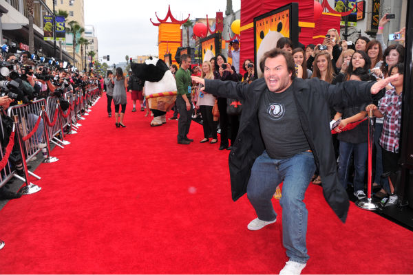 Jack Black arrives at