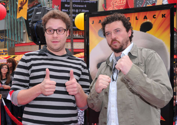 Seth Rogen (L) and Danny McBride arrive at...