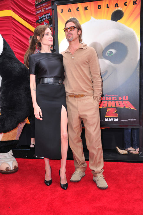 "<div class=""meta image-caption""><div class=""origin-logo origin-image ""><span></span></div><span class=""caption-text"">Angelina Jolie and Brad Pitt arrive at DreamWorks Animation's 'Kung Fu Panda 2' Los Angeles Premiere held at Grauman's Chinese Theatre on May 22, 2011 in Hollywood, California.  (Alberto E. Rodriguez / Getty Images / Royalty-free)</span></div>"