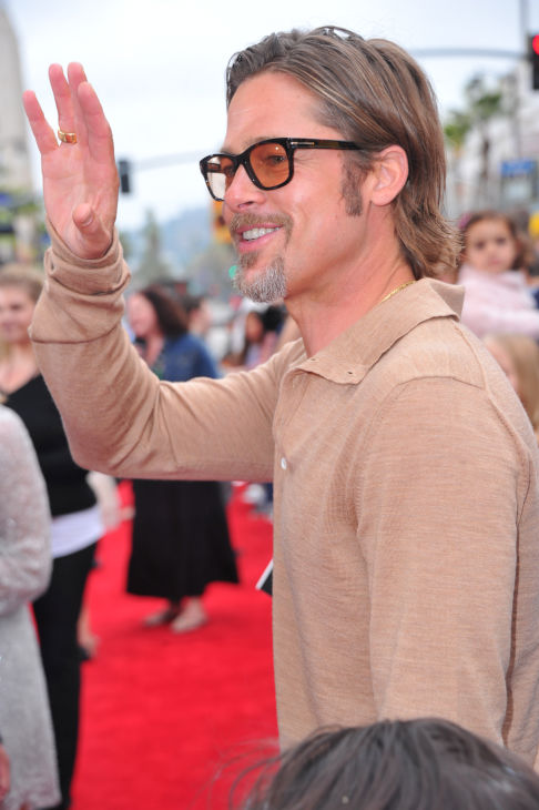 Brad Pitt arrives at DreamWorks Animation's...